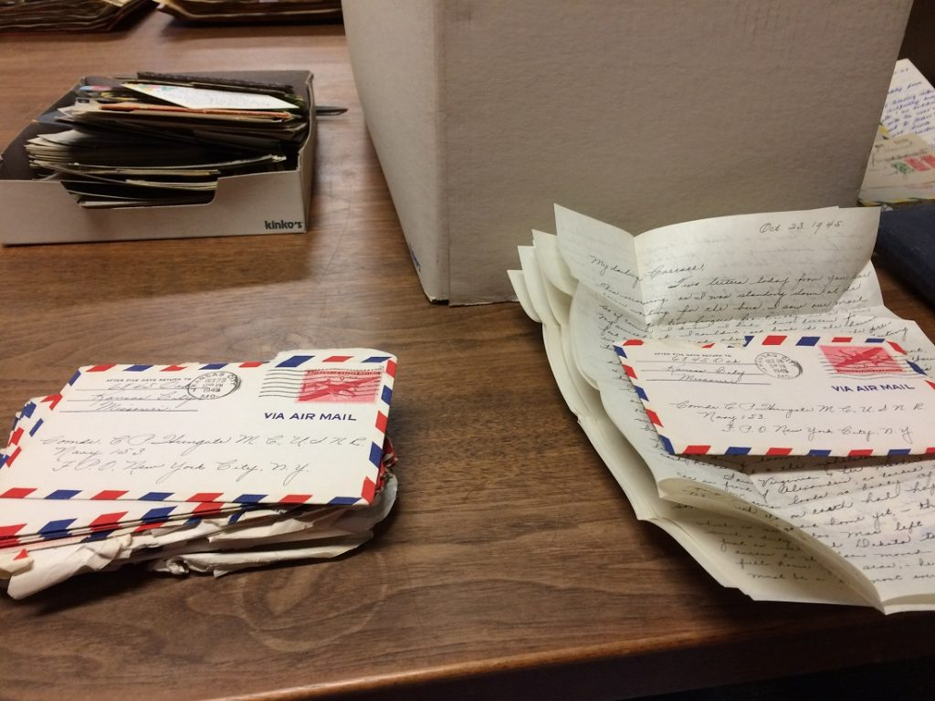 Photograph of the Hungate family letters while being processed
