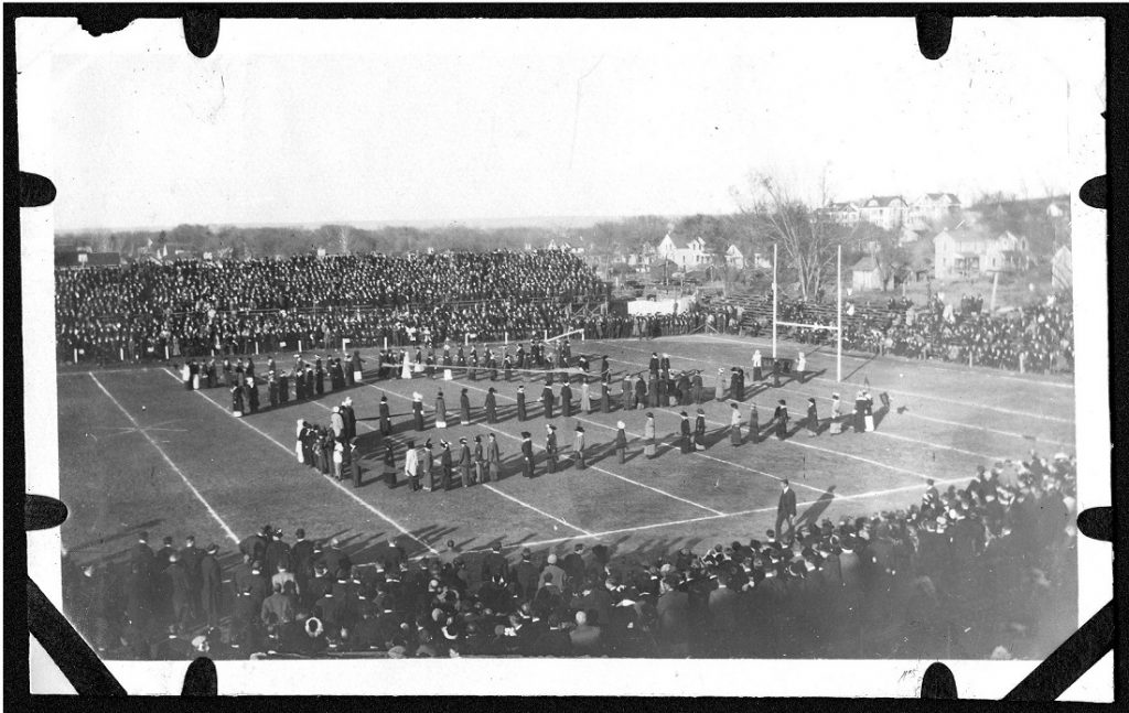 Photograph of an early KU Homecoming football game, 1910s