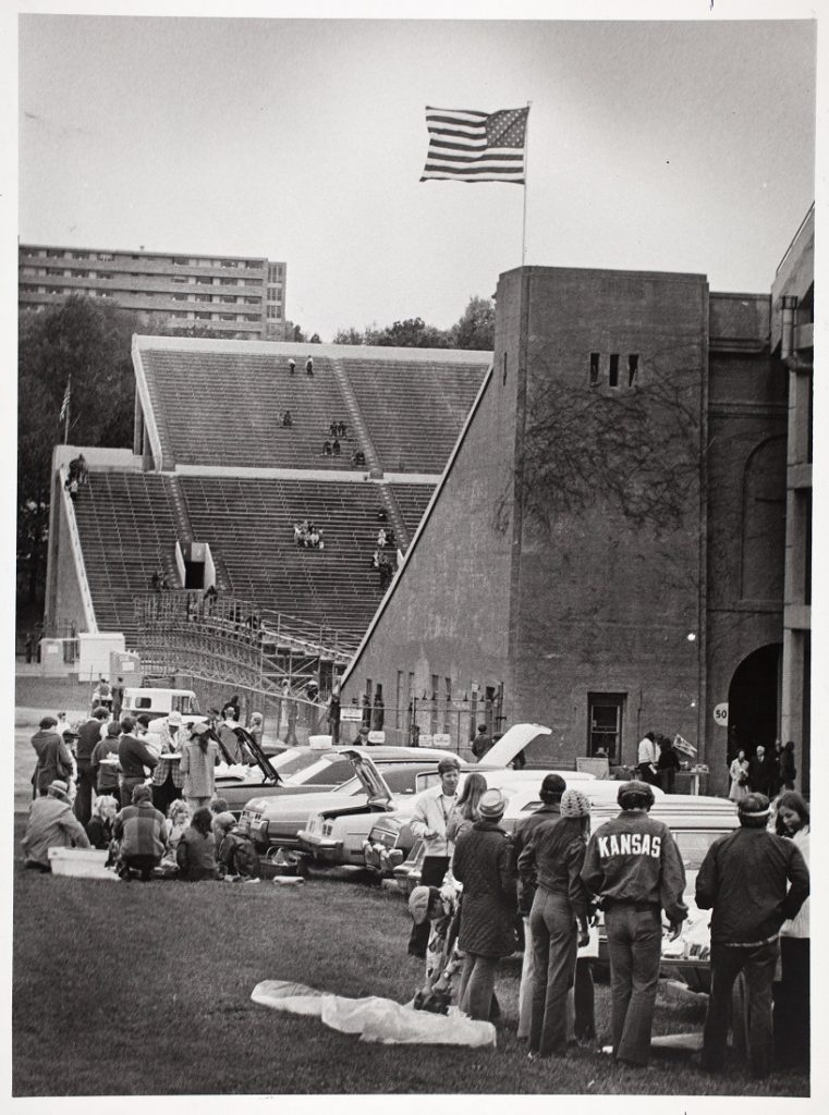 Photograph of football fans tailgating outside Memorial Stadium, 1975-1976