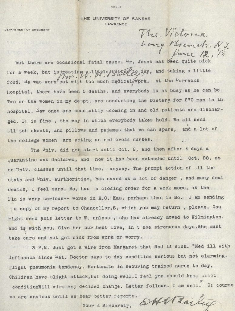 Image of E.H.S. Bailey's letter to his son Herbert, October 18, 1918