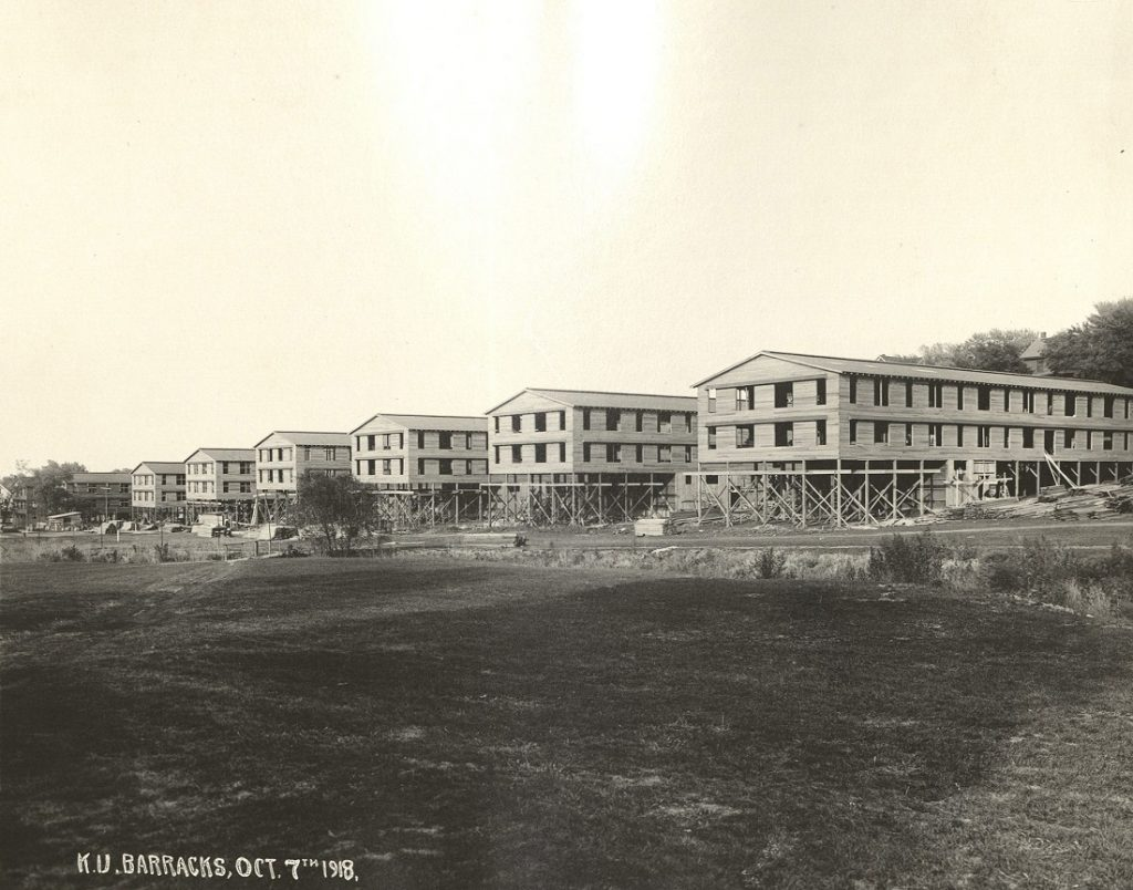 Photograph of KU S.A.T.C. barracks on Mississippi Street, 1918