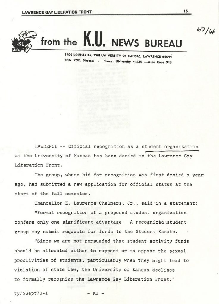 Image of a KU news release about the Lawrence Gay Liberation Front student organization, 1970