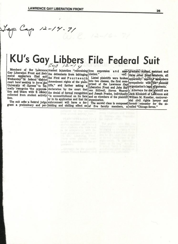 Image of a Topeka Capital Journal article about the Lawrence Gay Liberation Front student organization, 1971