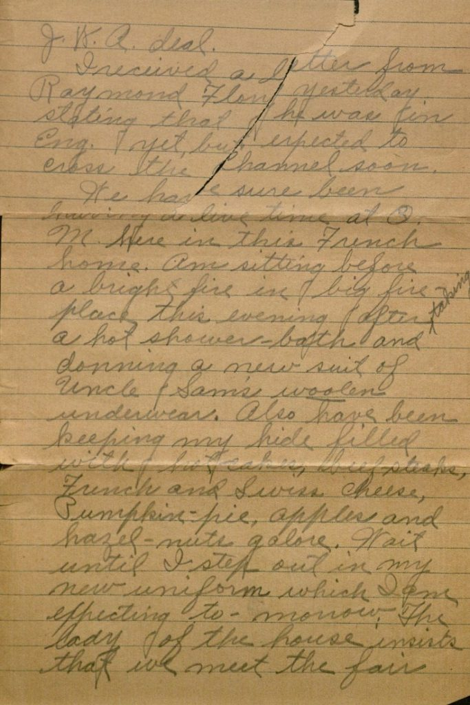 Image of Milo H. Main's letter to his family, October 9, 1918