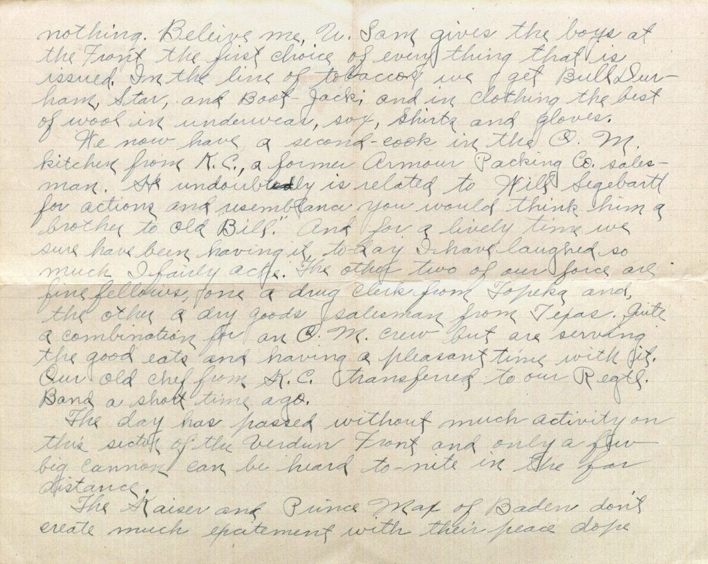 Image of Milo H. Main's letter to his family, October 24, 1918