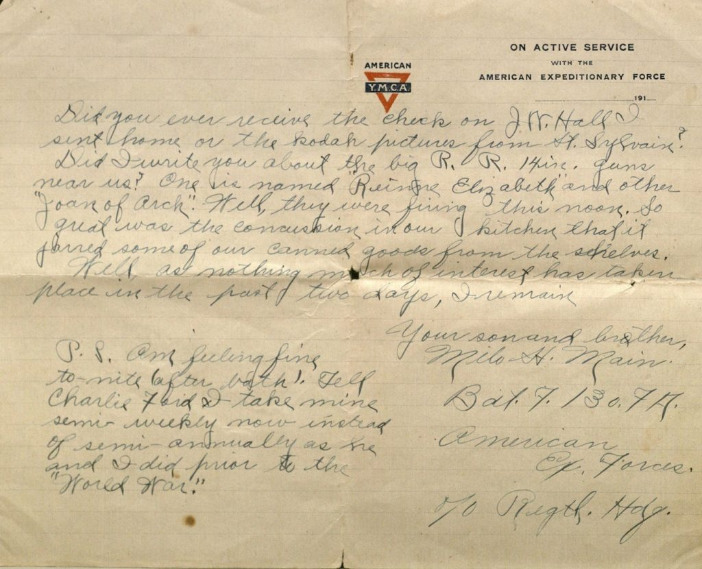 Image of Milo H. Main's letter to his family, October 31, 1918