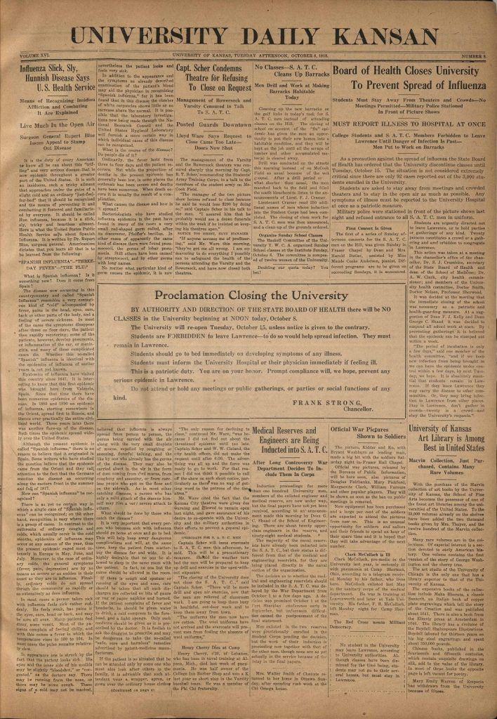 Image of the front page of the University Daily Kansan, October 8, 1918