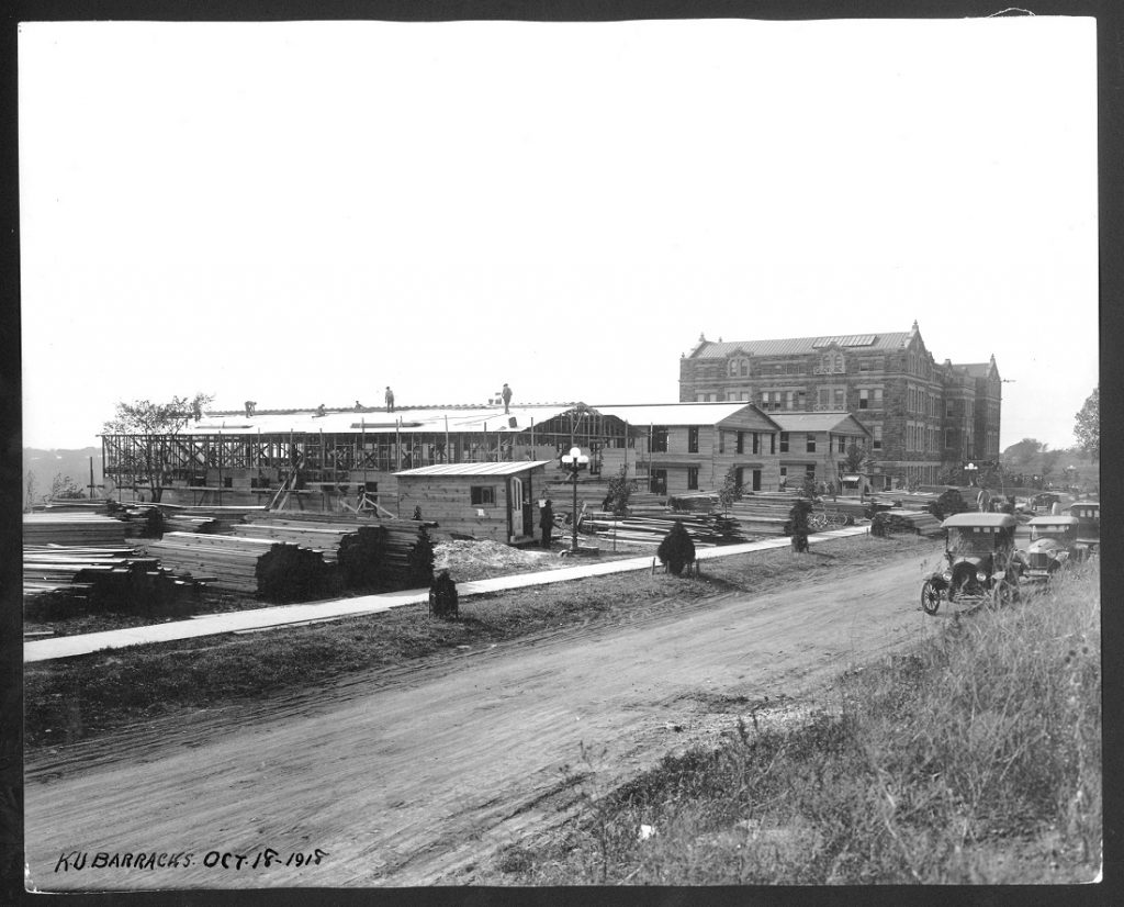 Photograph of S.A.T.C. barracks under construction, 1918
