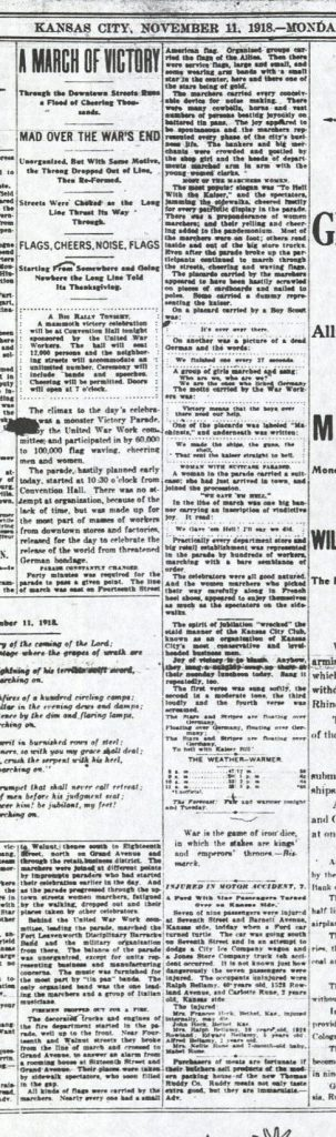 "Image of the article ""A March of Victory"" in the Kansas City Star on Armistice Day, November 11, 1918"