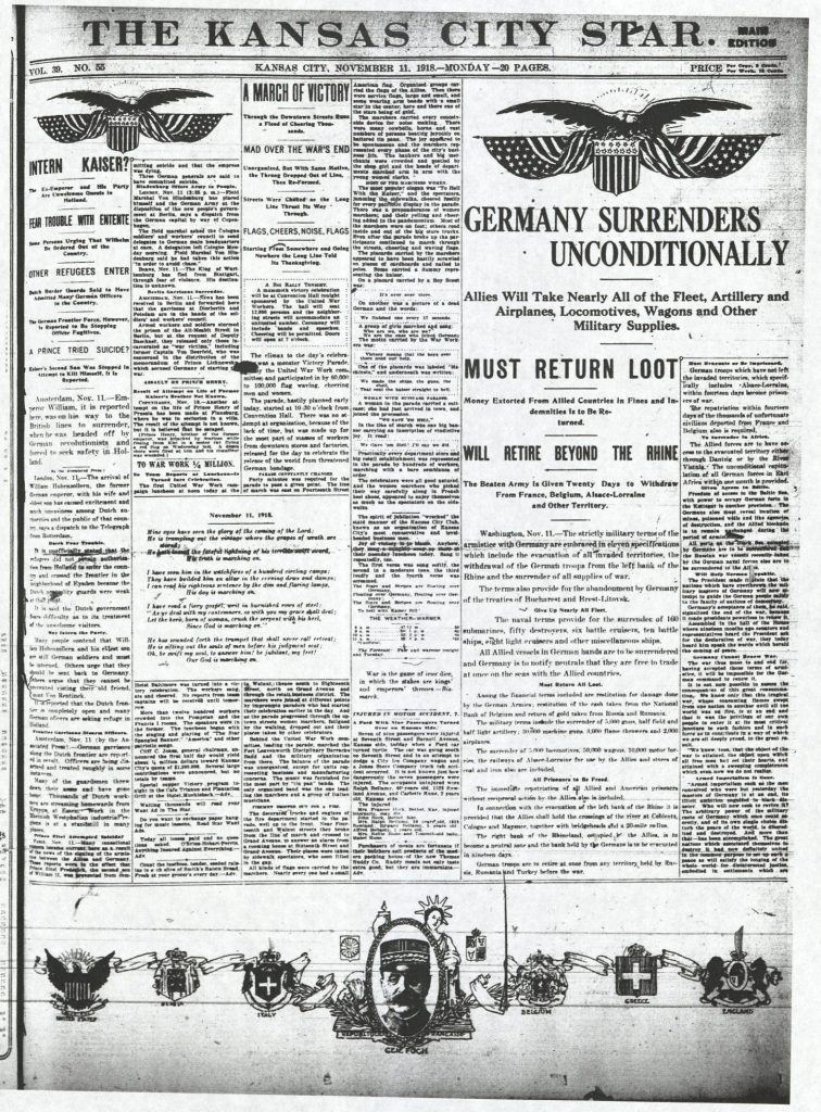 Photograph of the front page of the Kansas City Star on Armistice Day, November 11, 1918