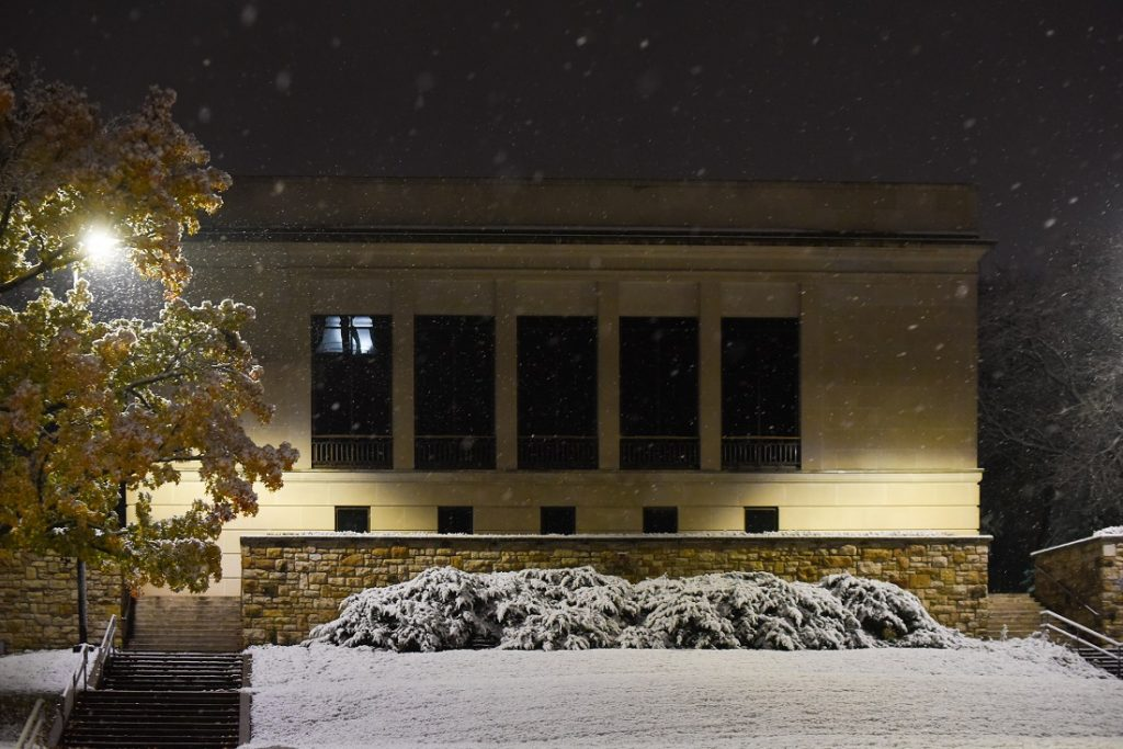Photograph of Spencer Research Library's North Gallery in snow during the fiftieth anniversary celebration, 2018