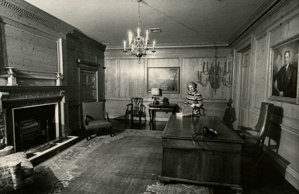 Photograph of Helen Foresman Spencer in the memorial office at Kenneth Spencer Research Library, 1968