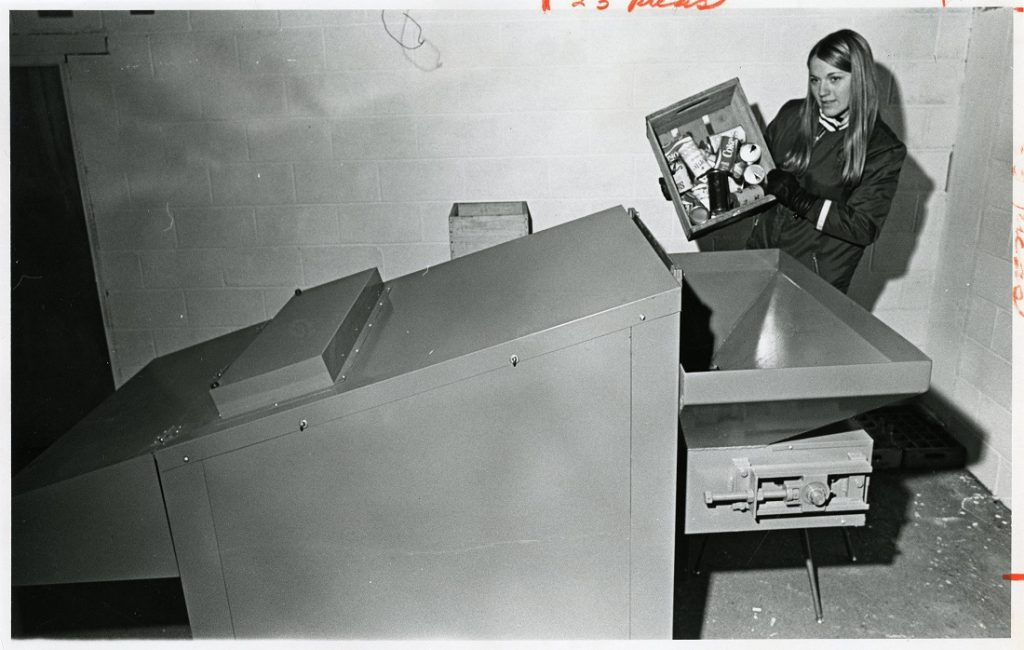 Photograph of the Whomper recycling machine at KU, 1971