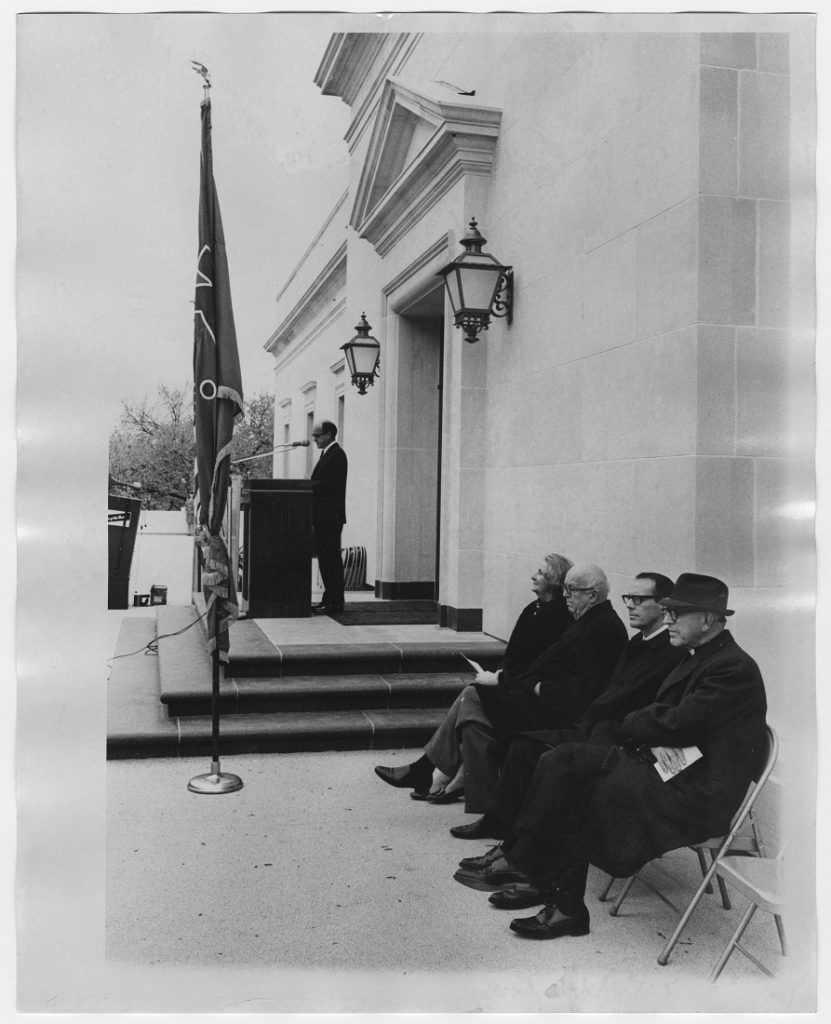 Photograph of the dedication ceremony on the terrace at Kenneth Spencer Research Library, November 8, 1968