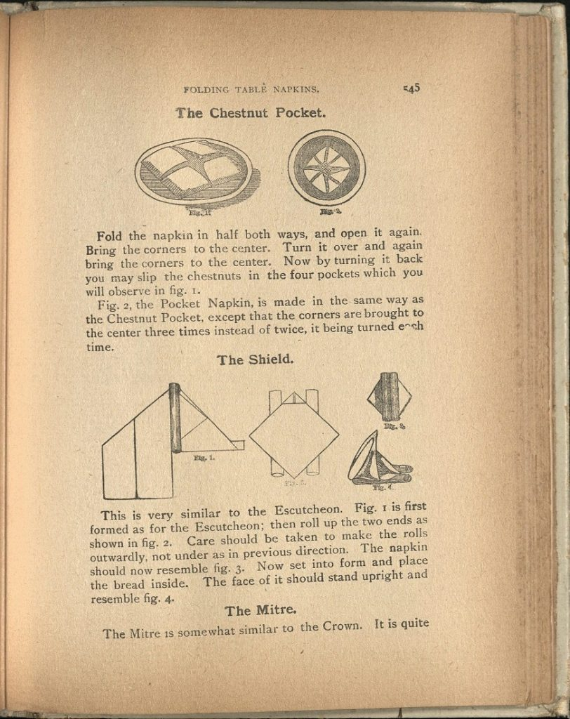 "Image of the instructions for the Chestnut Pocket napkin fold in ""The 'Home Queen' Cook Book,"" 1901"