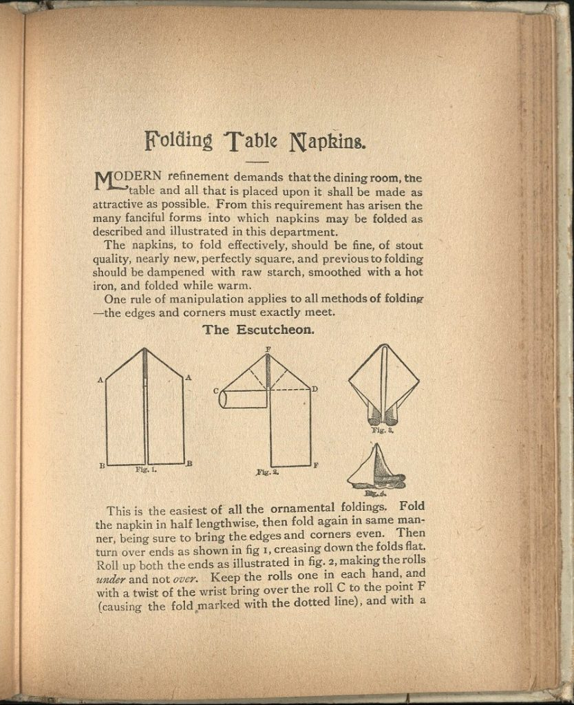 "Image of the instructions for the Escutcheon napkin fold in ""The 'Home Queen' Cook Book,"" 1901"