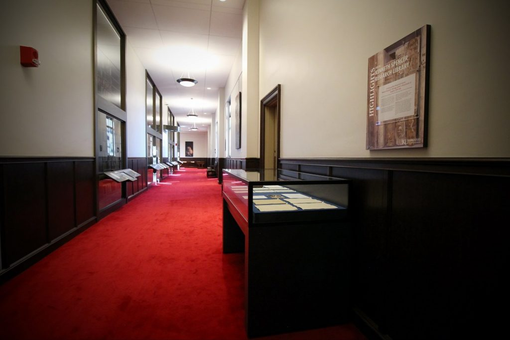 Photograph of the east side of Spencer Research Library's North Gallery