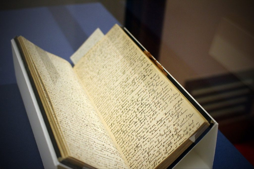 Photograph of pages in a diary kept by KU English Professor Edwin M. Hopkins