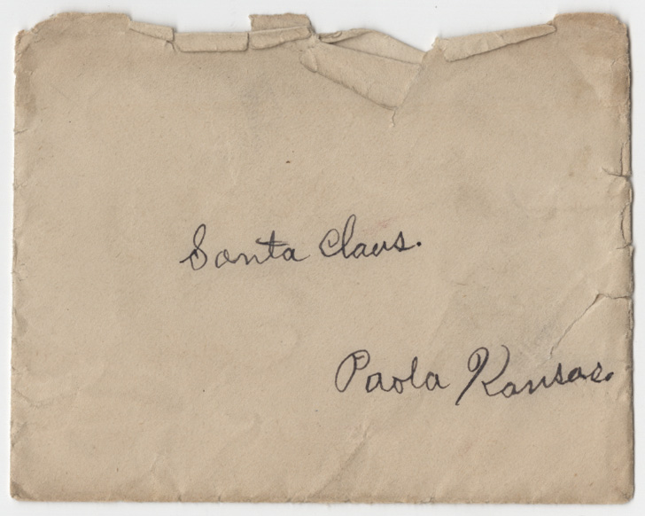 Photograph of the envelope to Berenice Boyd's letter to Santa Claus, undated