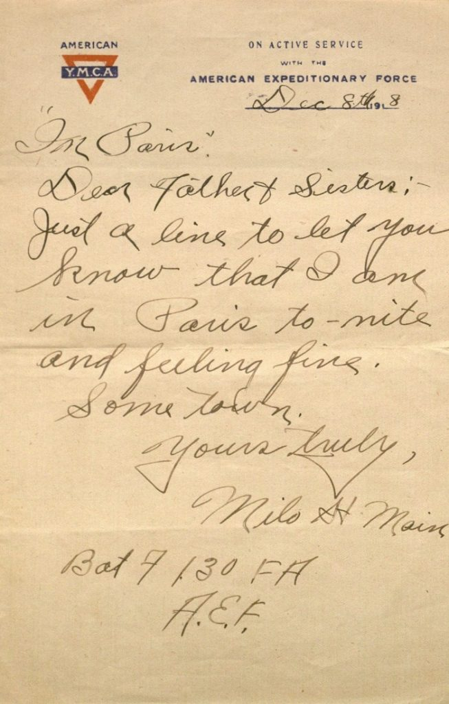 Image of Milo H. Main's letter to his family, December 8, 1918