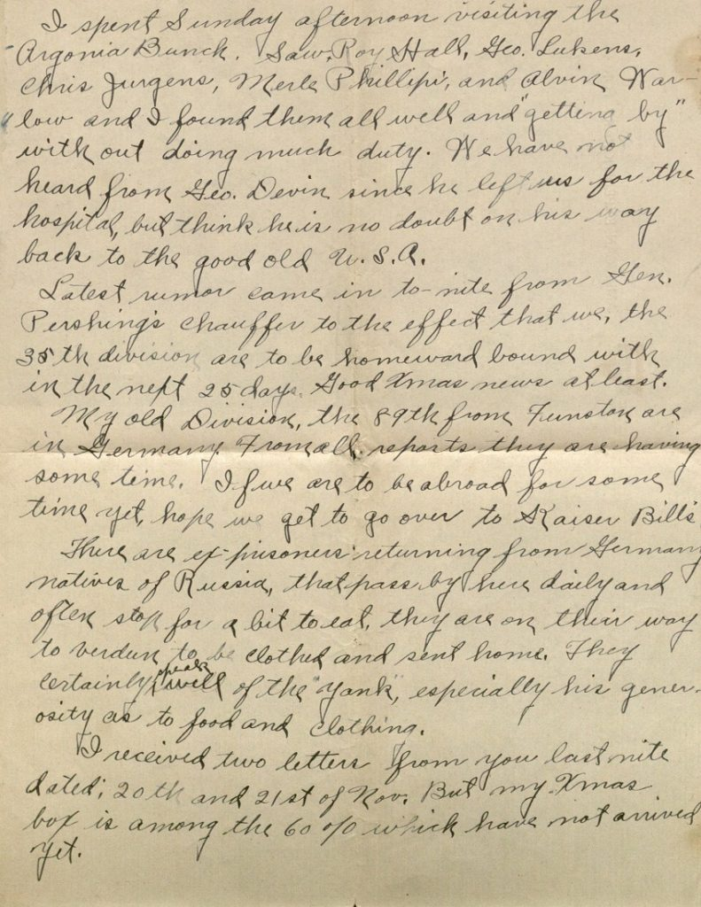 Image of Milo H. Main's letter to his family, December 24, 1918