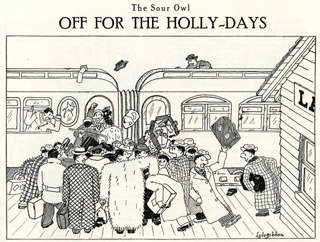 "Image of the ""Off for the Holly-Days"" cartoon in the Sour Owl, December 1926"