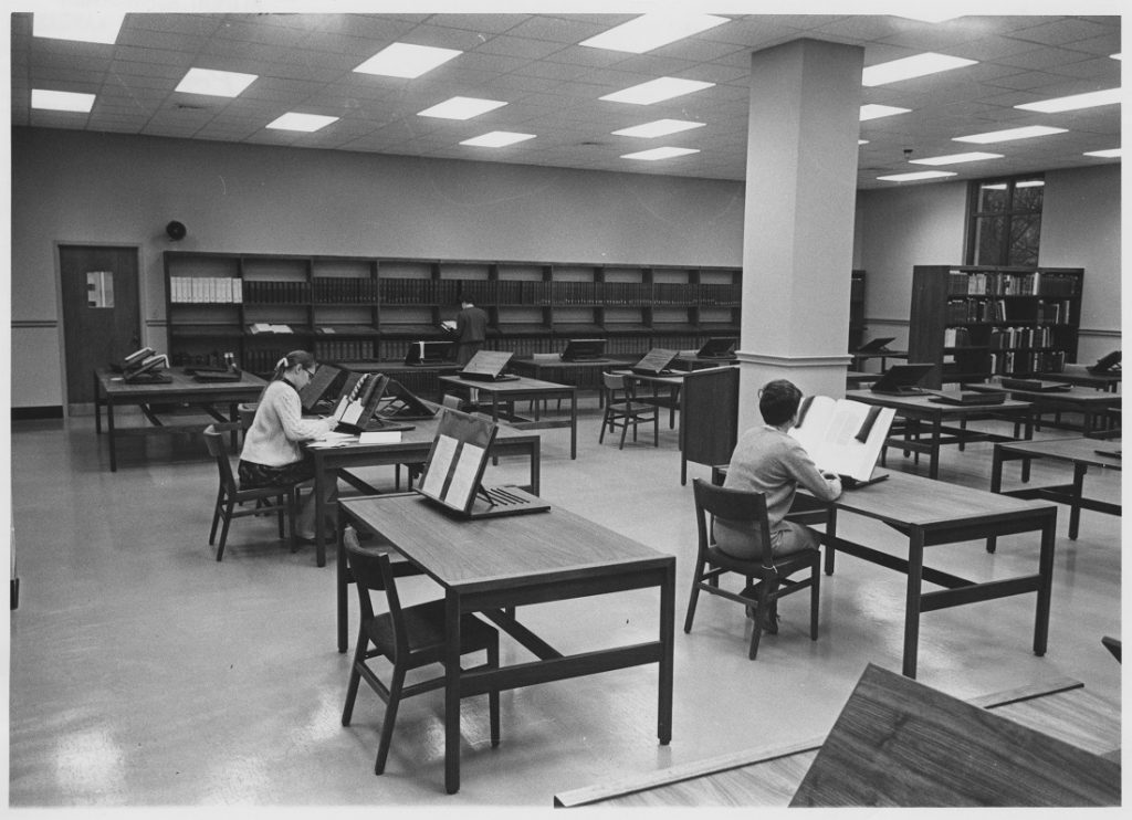 Photograph of Special Collections Reading Room at Spencer Research Library, 1968