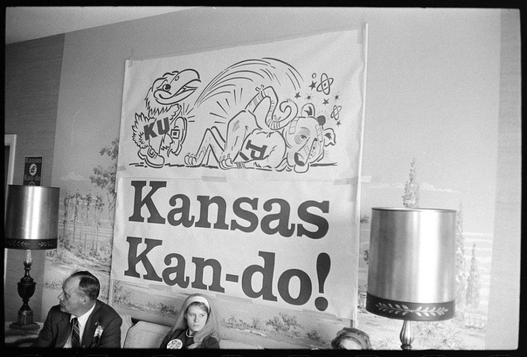 """Photograph of a """"Kansas Kan-do!"""" Orange Bowl sign, 1969"""