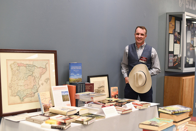 "Picture of 2018 Graduate Student Category winner, Paul T. Schwennesen, with his collection titled ""Borderlands — A Manifesto of Overlap."""