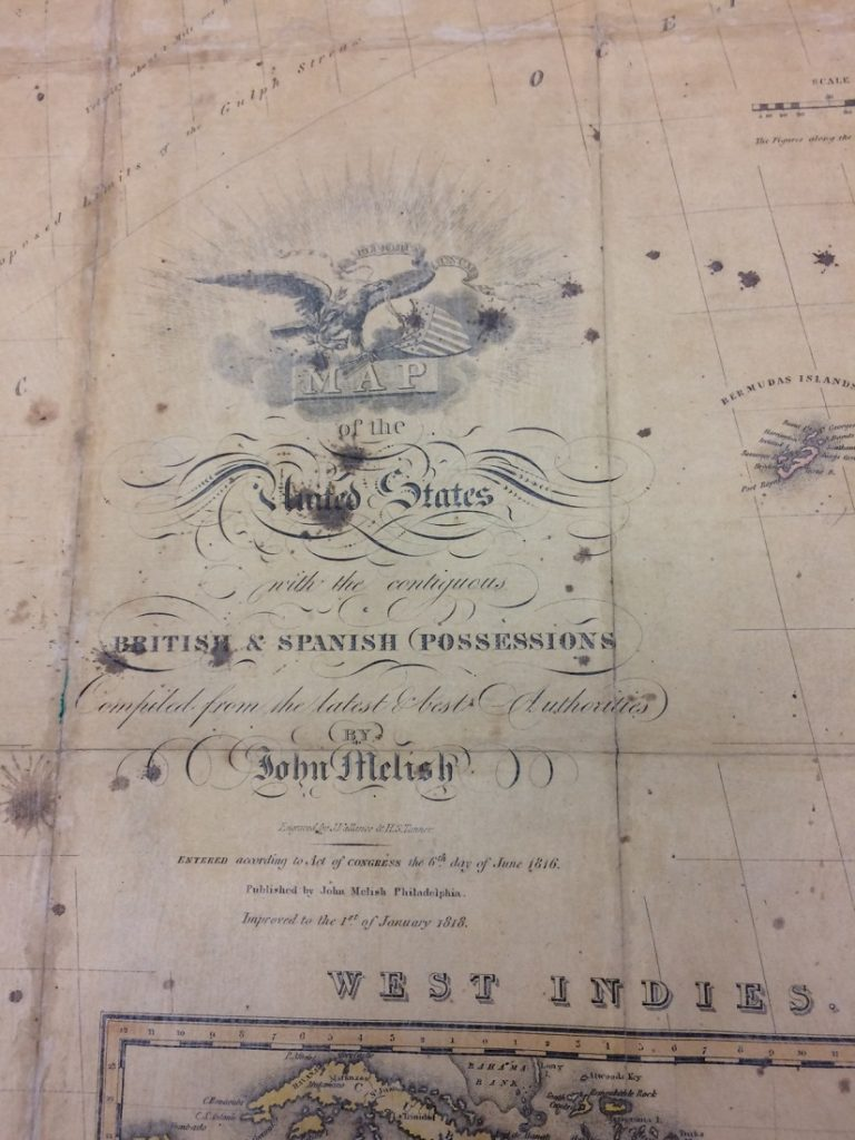 "Closeup of the title of the ""Map of the United States with the Contiguous British and Spanish Possessions,"" 1816"
