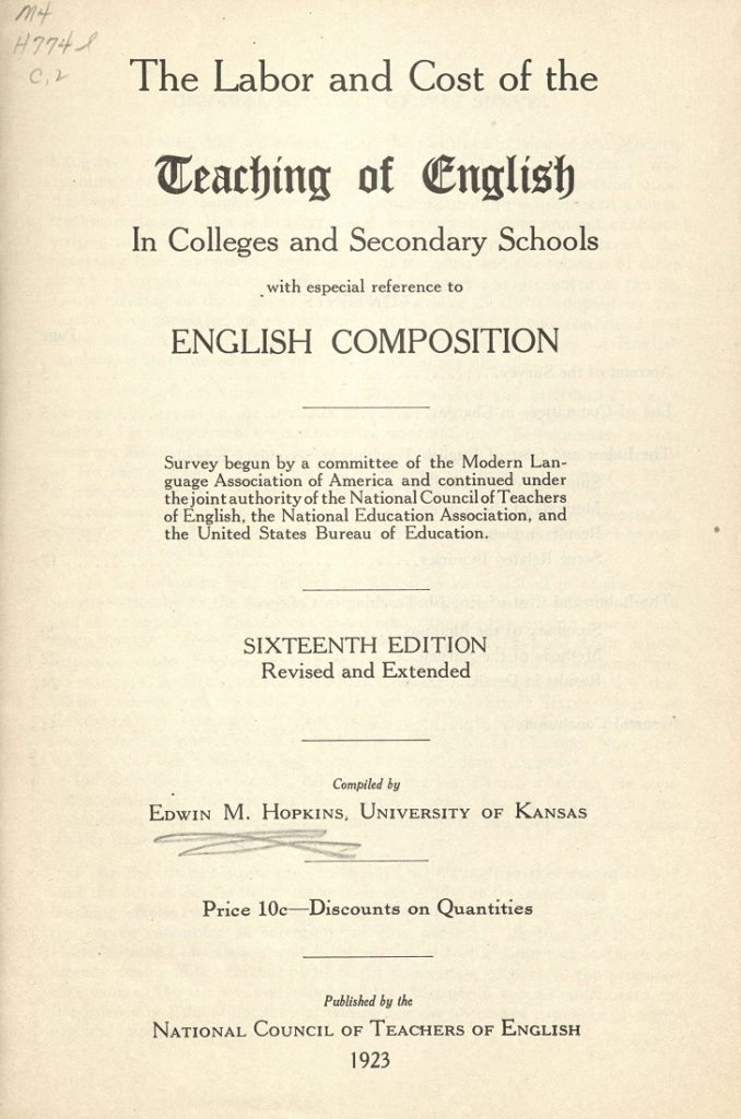 "Title page of ""The Labor Cost of the Teaching of English"" by Edwin M. Hopkins, 1923"