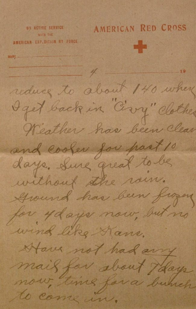 Image of Milo H. Main's letter to his family, January 25, 1919