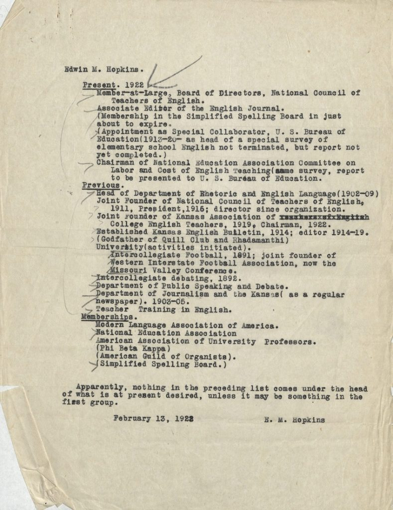 Image of a portion of Edwin M. Hopkins' resume, 1922