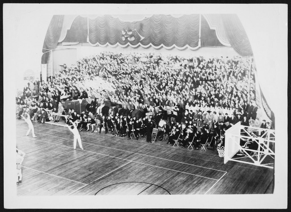 Photograph of a KU men's basketball game against Iowa State, 1933/1934