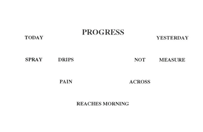 "Image of a concrete poem that begins ""Progress / Today Yesterday [...]"" in the collection of John Fowler"