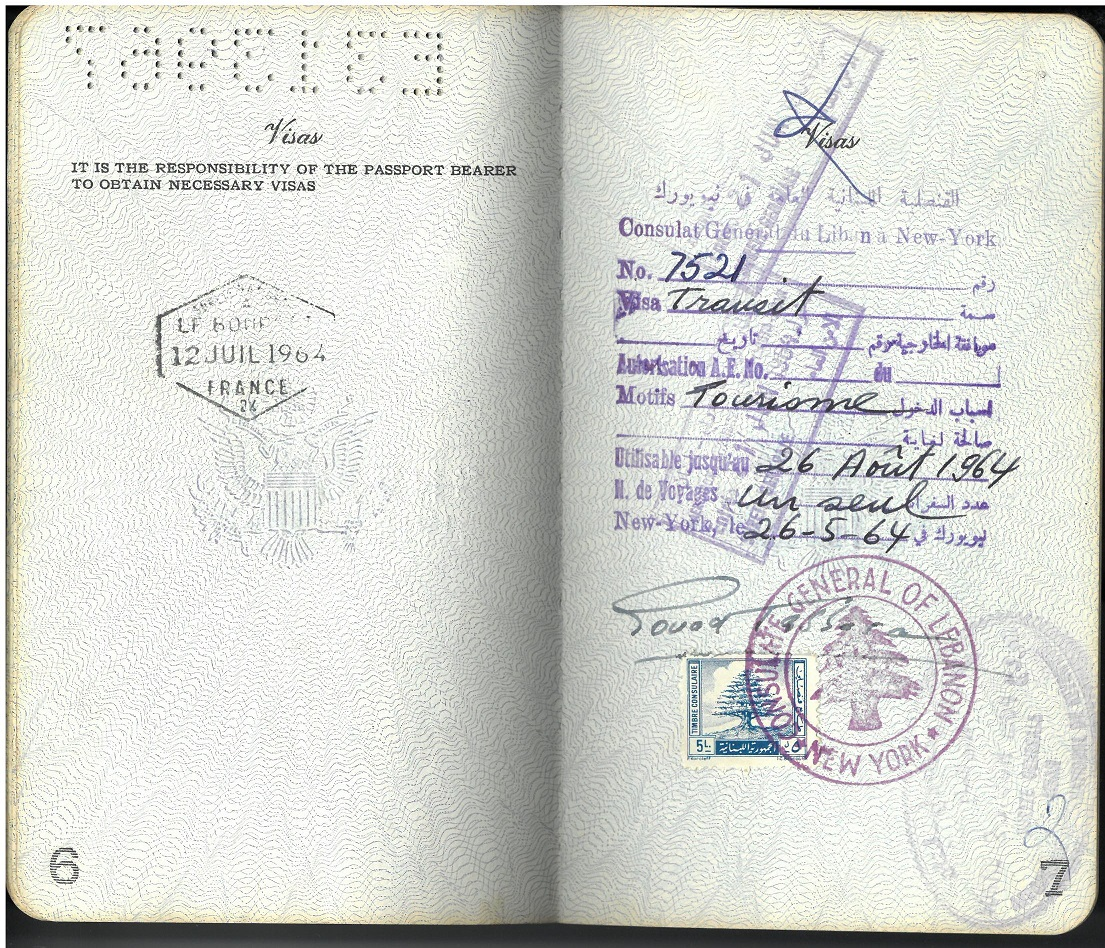 Image of a page from the passport of Annabelle Sawyer, revealng stamps from France and the Consulate of Lebanon in New York.