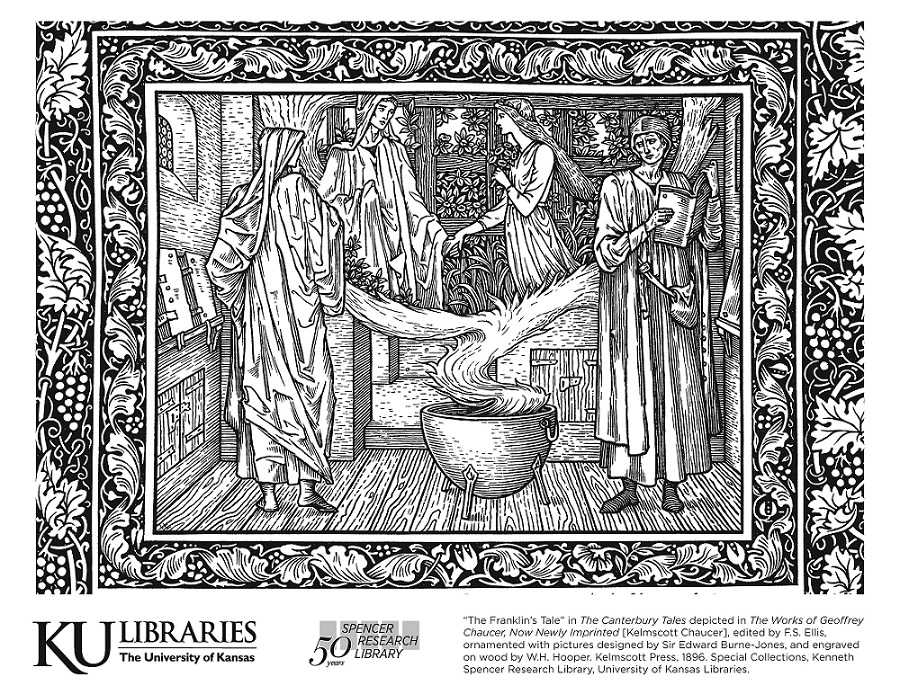 Kelmscott Chaucer image in the KU Libraries coloring book, 2019