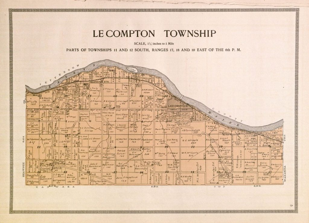 Map of Lecompton Township, 1909