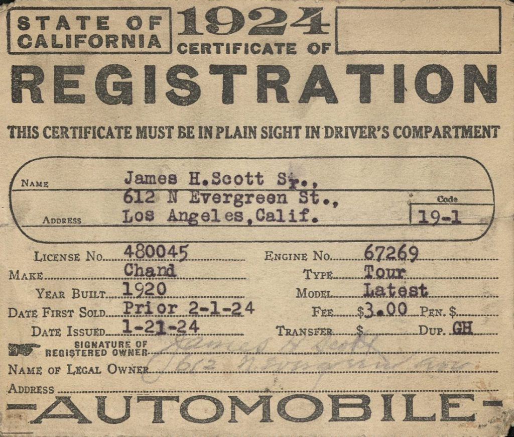 Image of James Scott's California registration for a 1920 Chandler touring car, 1924