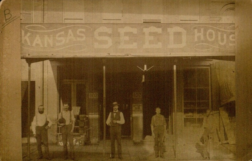 Photograph of the Kansas Seed House storefront, 1886
