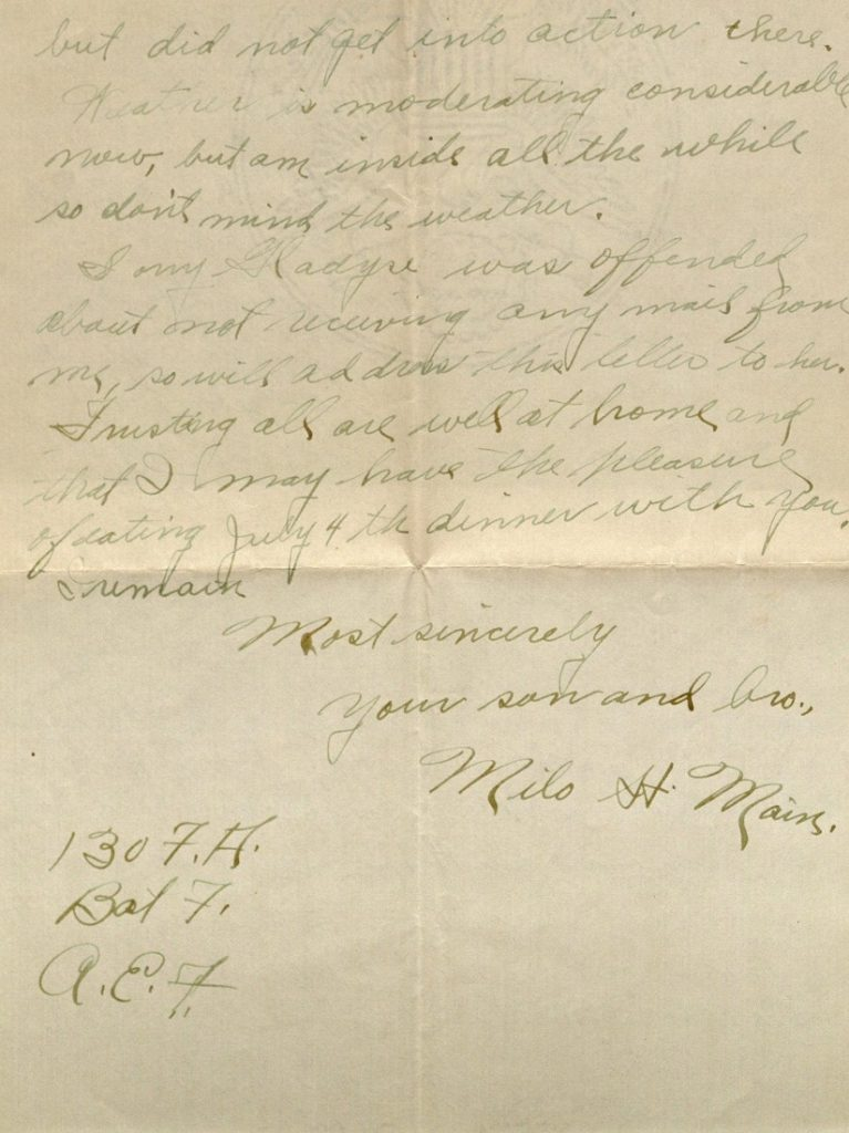 Image of Milo H. Main's letter to his family, February 8, 1919