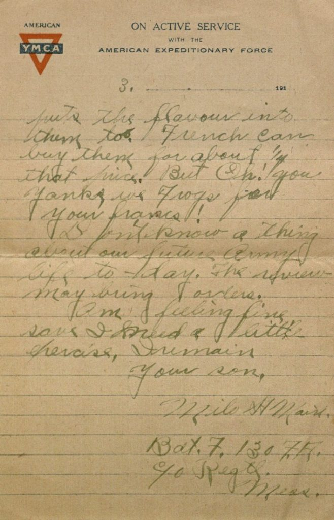 Image of Milo H. Main's letter to his family, February 16, 1919