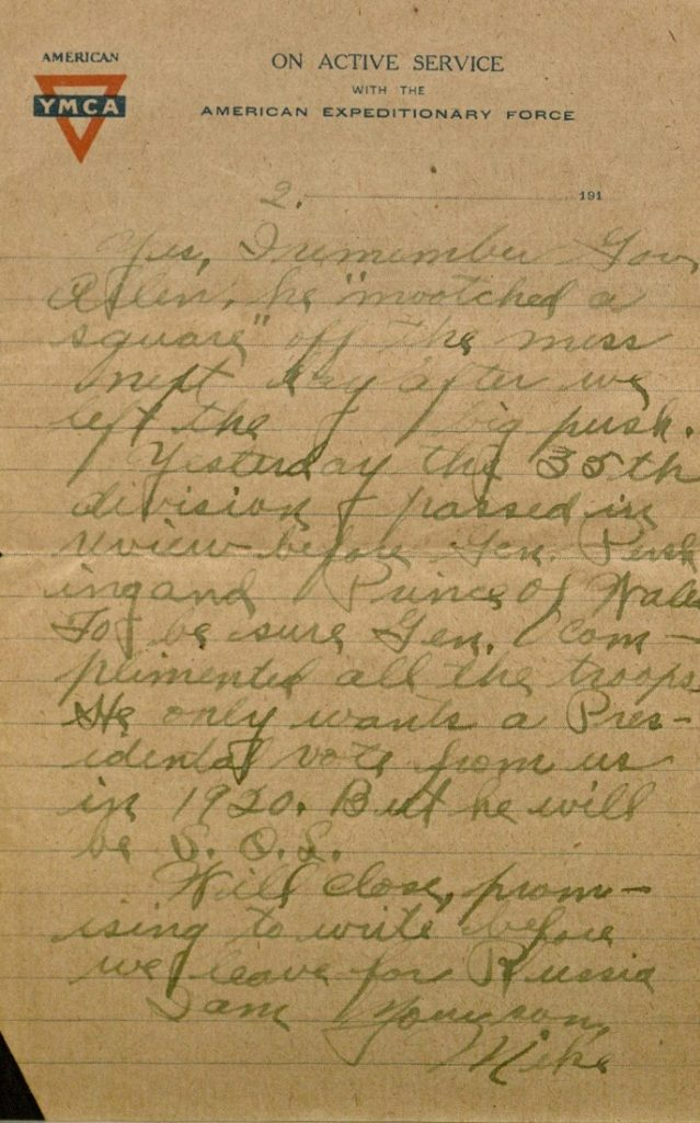 Image of Milo H. Main's letter to his family, February 18, 1919