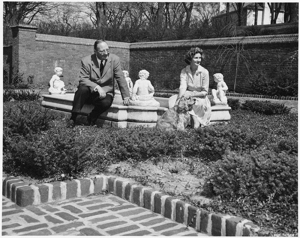 Kenneth and Helen Spencer in their garden, 1959