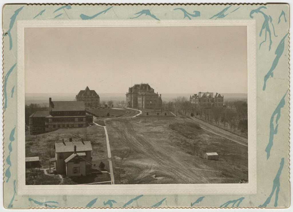 Photograph of a view of the KU campus, 1890s