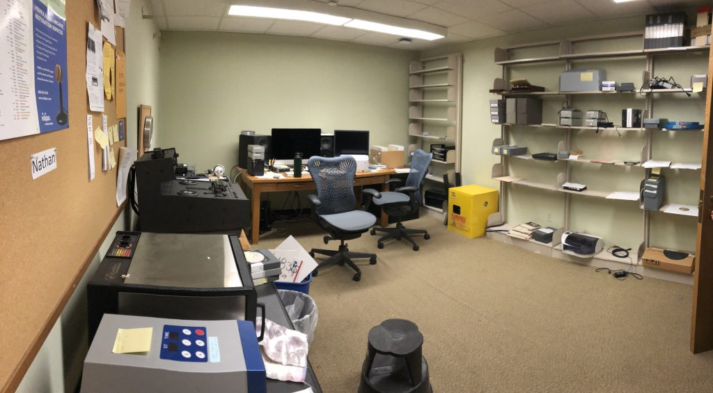 Audio Preservation Lab in Spencer Research Library, prior to renovation.