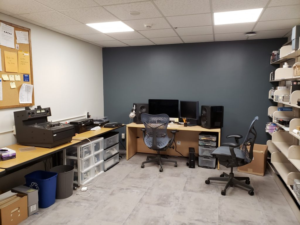 The renovated Audio Preservation Lab at Spencer Research Library.