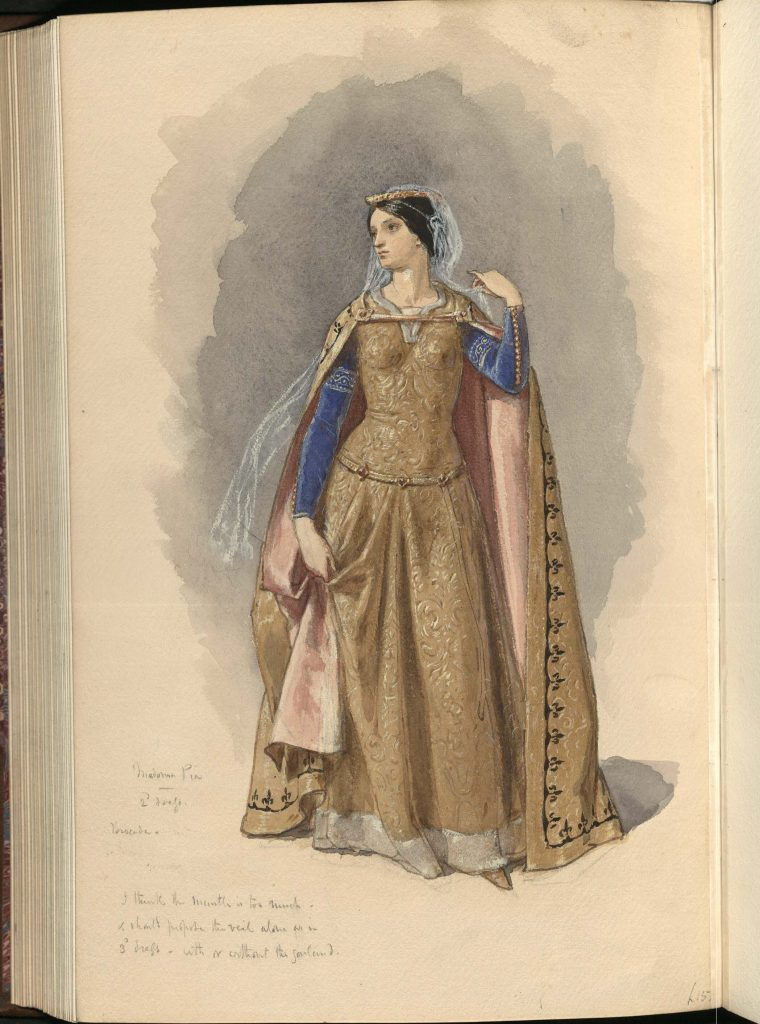Frederic William Burton's watercolour and gouache painting of Madonna Pia in gold dress costume, with pencil notes on costuming