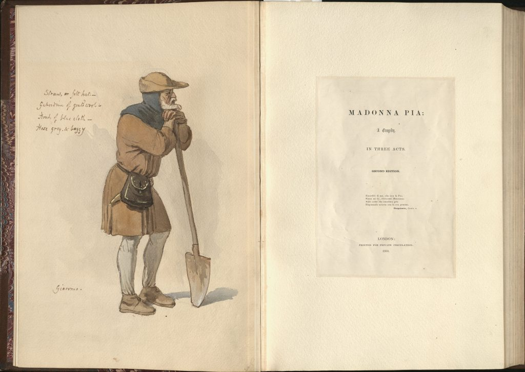 Image of the Madonna Pia title page with a watercolor and gouache painting of Giacomo's costume, with costuming notes