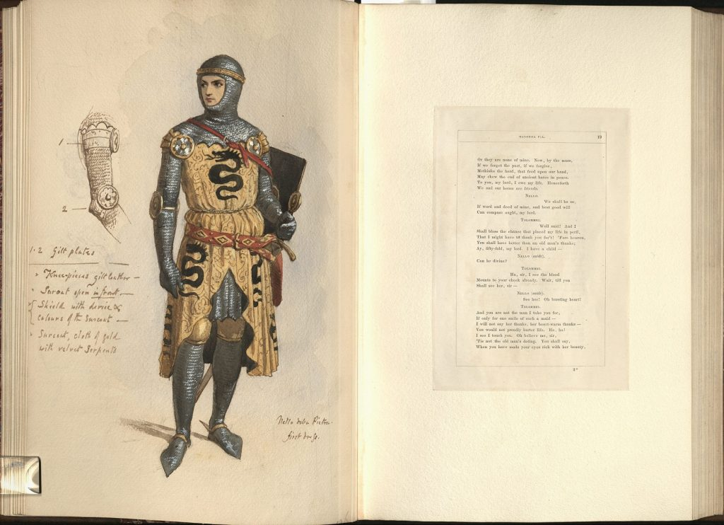 Image of Frederic William Burton's watercolor and gouache costume painting for Nello della Pietra, with facing text